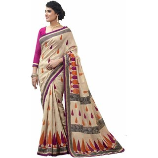 Florence Beige Party Wear Silk Printed Bhagalpuri Saree (FL-10085)