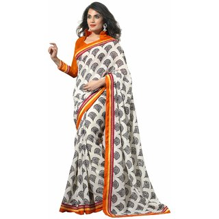 Florence White Party Wear Silk Printed Bhagalpuri Saree (FL-10086)