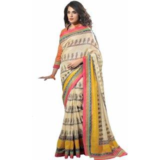 Florence Beige Party Wear Silk Printed Bhagalpuri Saree (FL-10087)