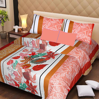 AKASH GANGA MULTI COLOUR  COTTON BEDSHEET WITH 2 PILLOW COVERS (AG1053)