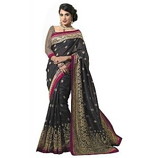 Florence Black Party Wear Silk Printed Bhagalpuri Saree (FL-10088)