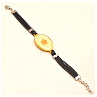 Men's Gold Color Fancy Buckle Bracelet with black belt