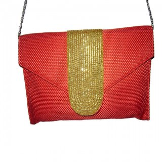 Women Casual, Party Red Jute Clutch