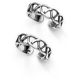 Pleasing Cutwork Sterling Silver Toe Ring-TR97