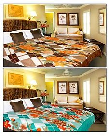 iLiv Multicolour Blends Double Bed AC Blankets - Buy 1 Get 1- 2prntblankets31