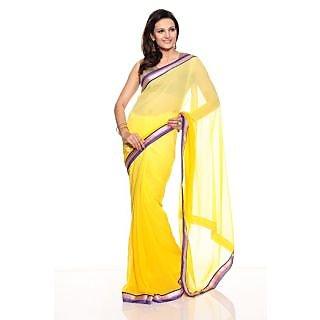 Florence Yellow Chiffon Saree (FL-10103)