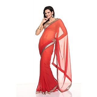 Florence Red Chiffon Saree (FL-10104)