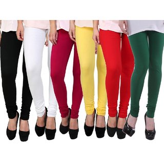 Stylobby Multi Color Cotton Lycra Pack Of 6 Leggings