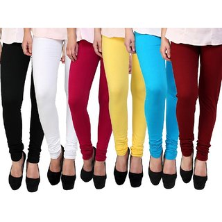 Stylobby Multi Color Cotton Lycra Pack Of 6 Leggings