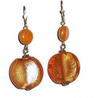 Beadworks Beaded Orange Colour Earrings
