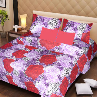AKASH GANGA MULTI COLOUR  COTTON BEDSHEET WITH 2 PILLOW COVERS (AG1054)