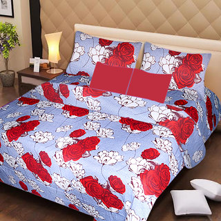 AKASH GANGA MULTI COLOUR  COTTON BEDSHEET WITH 2 PILLOW COVERS (AG1055)