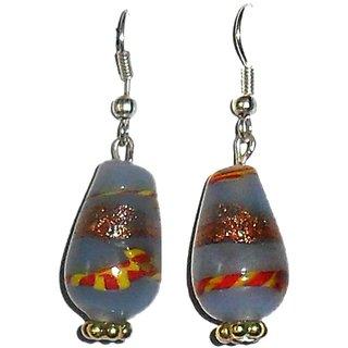 Beadworks Blue Lampwork Glass Beaded Earrings