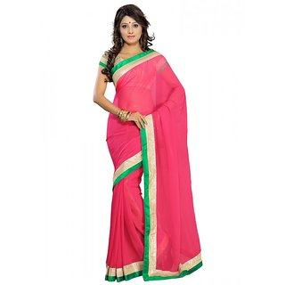 florence clothing company Pink Chiffon Plain Saree With Blouse