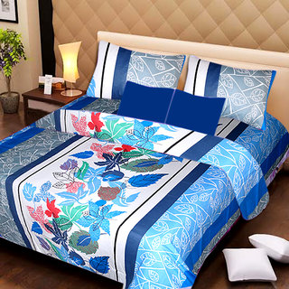 AKASH GANGA MULTI COLOUR  COTTON BEDSHEET WITH 2 PILLOW COVERS (AG1058)