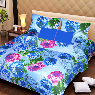 AKASH GANGA MULTI COLOUR  COTTON BEDSHEET WITH 2 PILLOW COVERS (AG1060)