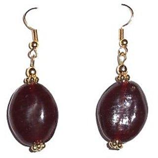 Beadworks Beaded Maroon Colour Earring