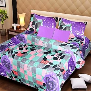 AKASH GANGA MULTI COLOUR  COTTON BEDSHEET WITH 2 PILLOW COVERS (AG1065)
