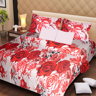 AKASH GANGA MULTI COLOUR  COTTON BEDSHEET WITH 2 PILLOW COVERS (AG1067)