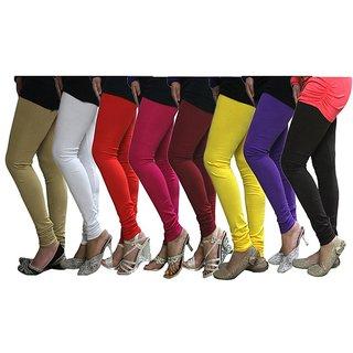 Cotton Lycra Pack Of 8 Stylobby Multi Color Leggings