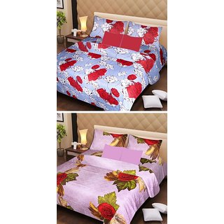 AKASH GANGA MULTI COLOUR  2 COTTON BEDSHEET WITH 4 PILLOW COVERS (AG1069)