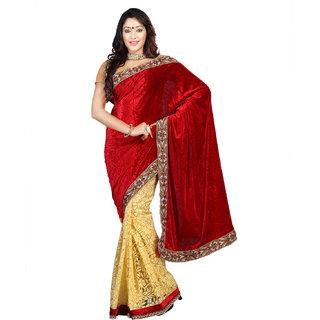 0ab30804921af Buy Florence Red Velvet Saree (FL-10200-APR) Online - Get 72% Off