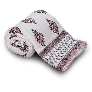 Marwal Jaipuri Floral Hand Block Cotton Single Bed Quilt