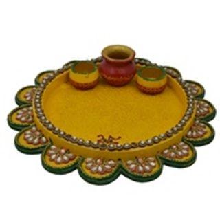 Wooden & Paper Mache Flower Shape  Pooja Thali With Kundna Work 1936