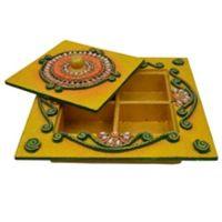 Wooden & Paper Mache  Dry Fruit Box With Kundan Work 1941