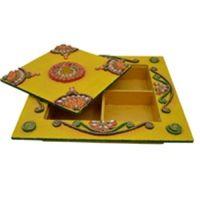Wooden & Paper Mache  Dry Fruit Box With Kundan Work 1942