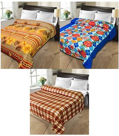 iLiv MultiColor Double Bed Ac Blankets - set of 3-1pnt2chkDB21