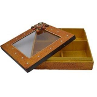 Wooden & Paper Mache  Dry Fruit Box With Kundan Work 1943