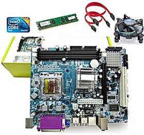 INTEL945 CHIPSET MOTHERBOARD COMBO WITH DDR2 2GB RAM AND CPU COOLER FAN  C2D CPU