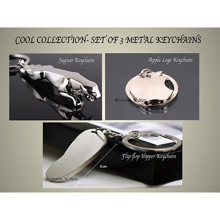 Apple-Logo Flip-flop Jaguar- Set of 3 Metal Keychains-COOL KEYRING COLLECTION
