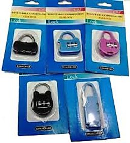 (Set of 5) 3 Resettable Combination Pad Lock For Bags, Luggage, Zippers
