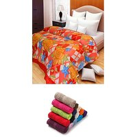 iLiv Double Bed AC Blanket With 6 Face Towels - DBPF01