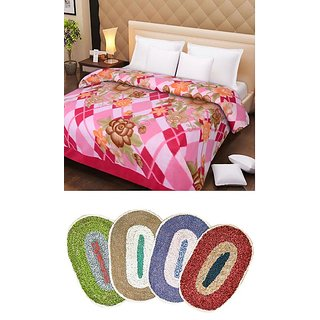 iLiv Double Bed AC BlanketDB03 With 4 Bath Mat Combo