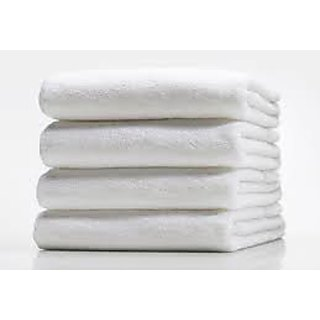 Marwal plain white full size  gents 4 bath towel