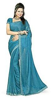 Sukuma Blue Kanchipuram silk Self Design Saree Without Blouse