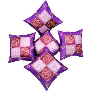 Ratash Poly gold Purple Cushion cover