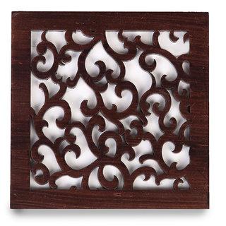 Cocktail Wooden Jaal Coaster Set Brown Color