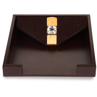 Cocktail Wooden Resin Napkin Tray Brown Color