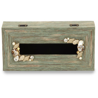 Cocktail Wooden Fibre Tissue Box Green Color