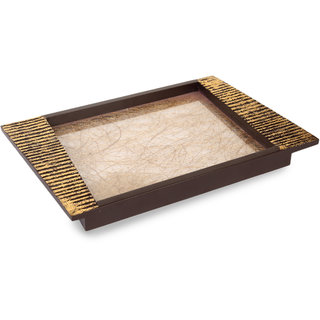 Cocktail Wooden Fibre Tray Medium Gold and Brown Color