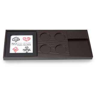 Cocktail Wooden Poker Tray Brown Color