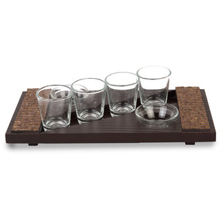 Cocktail Wooden Tequila Tray 4B Brown Color