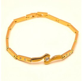 The jewelbox free size gold plated CZ Bracelet for Men