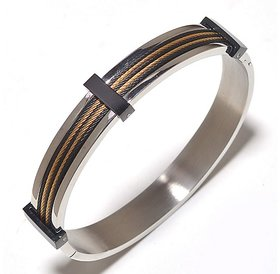 The jewelbox stainless steel gold rhodium plated free size kada Bracelet for Men