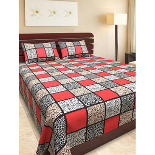 NC Creations Animal Printed Cotton Double Bedsheet With 2 Pillow Covers (NCBS-HHH041)