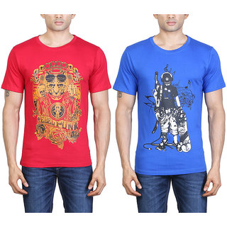 Tribal Bull New Multi Colour MenS T-Shirt - Combo Of 2